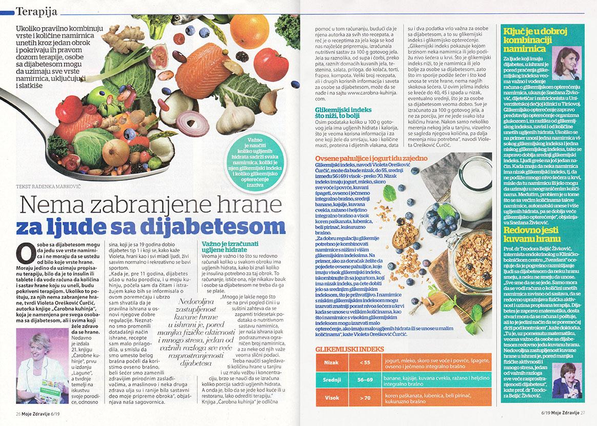 Casopis Moje zdravlje - Nema zabranjene hrane za dijabeticare, Carobna kuhinja